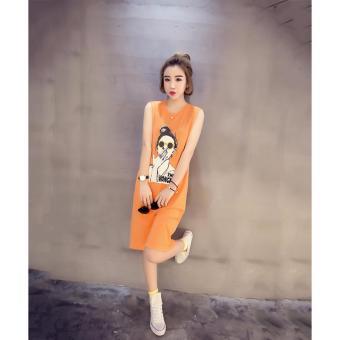Đầm suông nữ họa tiết hình cô gái (Cam) Thoitrangkm