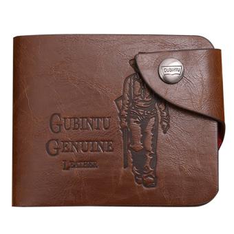 Mens Genuine Leather Bifold Wallet Brown - intl