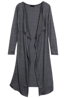 Cyber Women Full Long Sleeve Drape Collar Maxi Long Casual Cardigan Dark Grey - Intl