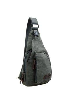 HKS Cool Outdoor Sports Casual Canvas Unbalance Backpack Crossbody Sling Bag Shoulder Bag Chest Bag for Men Grey S - intl