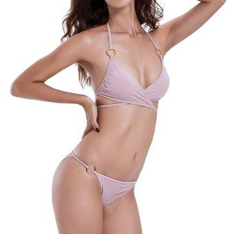 Sexy Push Up Women Swimwear Cross Strap Bikini Set Swimsuit Bikini Bathing Metal Ring Suit Maillot Female Beachwear - intl