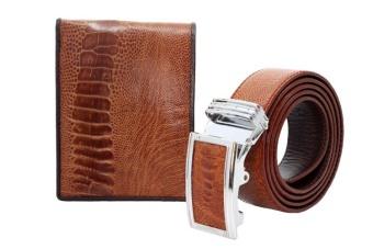 Bộ thắt lưng và ví nam tuibopda.com đà điểu LDZ_120 ( Vàng )