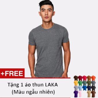 Áo thun nam LAKA A15 ( Xám) + Tặng 1 áo thun cùng loại (Màu ngẫu nhiên)