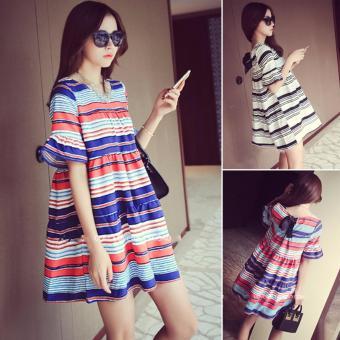 Đầm (Váy) Bầu Kiểu Dáng Hàn Quốc Kẻ Xanh Đỏ Size L