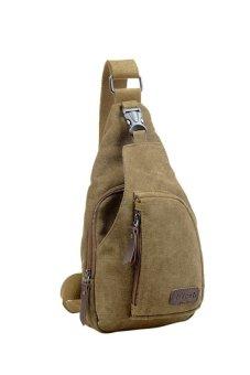 HKS Cool Outdoor Sports Casual Canvas Unbalance Backpack Crossbody Sling Bag Shoulder Bag Chest Bag for Men Khaki L - intl