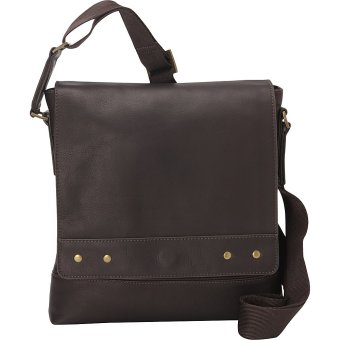 Túi đeo chéo vai nam da Columbia eBags Colombian Leather Rivet Tablet Bag (Mỹ) (Nâu đậm)