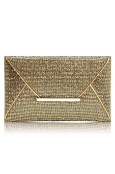 Women Lady Shimmer Glitter Sequins Envelope Bag Evening Party Prom Purse Clutch Handbag Gold (Intl)