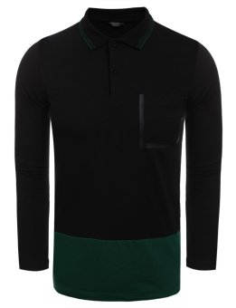 Linemart Men Casual Long Sleeve Polo Collar Patchwork Slim Contrast Color Pullover Polo Shirt ( Green )(Int:XXL)(OVERSEAS) - intl