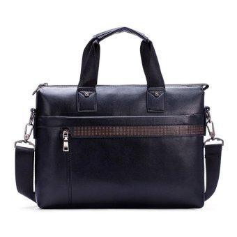 Moonar Fashion Men's Travel Bag PU Leather Business Hand Bag Shoulder Bag (Black) - intl