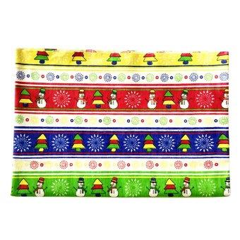 BolehDeals 1.6 Yards Christmas Tree Snowman Colorful Cotton Linen Fabric Table Decor #3 - intl