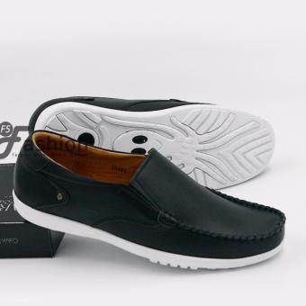 Giày Mọi Nam Đơn Giản Da Thật Đế Trắng GM268 (Đen)