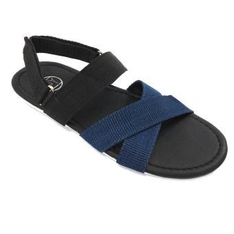 Giày Sandal 3 quai chéo đa năng quai hậu rời thời trang Everest - EVE04 (Đen phối xanh) D05