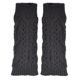 Hollow Out Leaves Knitted Gloves Gray