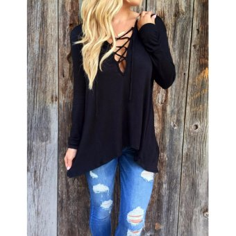 Women Blouses Shirts V-Neck Lace Up Long Sleeve Patchwork Lace Casual Tops Plus Size Blusas - intl