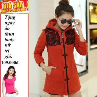 Áo khoác nữ form dài phối ren hàn quốc (Đỏ) + Tặng áo thun body nữ