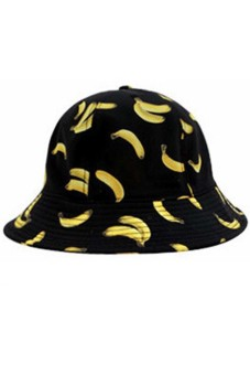 Women Ladies Girls Banana Pattern Fisherman Bucket Cap Summer Beach Sun Hat Black (Intl) - intl