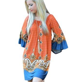 Woman Print Beach Dress Orange - intl