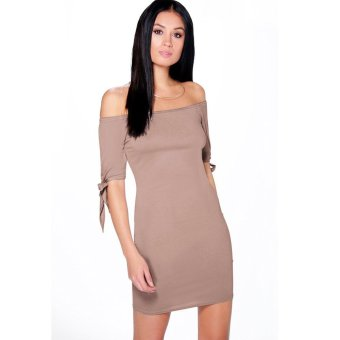 Gamiss Off-Shoulder Dress Pure Color Horizontal Collar (Deep Pink) - Intl