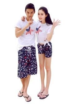 Quần short đôi đi biển Family Shop QD31 (Xanh phối trắng)