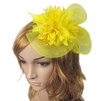 Hot Sale Bride Elegant Headdress Korean Girl's Sweet Small Flower Feather Clip Hair Band - intl
