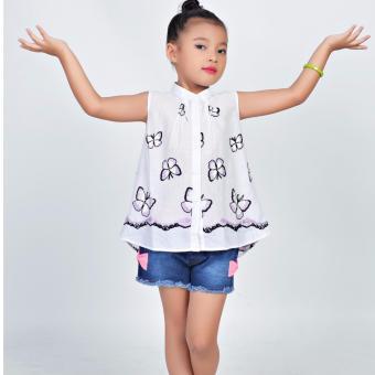 Áo kiểu thêu bướm Somy Kids màu trắng