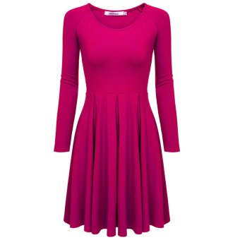 Cyber Meaneor Women Casual Long Sleeve High Waist Solid Stretch Pleated Dress (Rose Red) - Intl