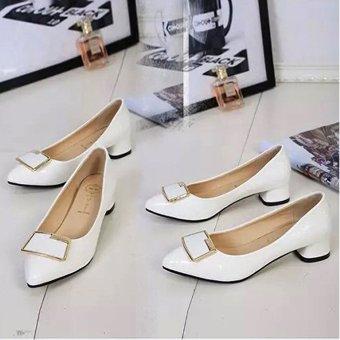 Giày búp bê nữ có gót thấp 172 (Trắng)