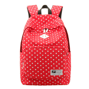 Cute Polka Dot Women Canvas Backpack Satchel Rucksack Schoolbag Leisure Travel Shoulder Bag Red