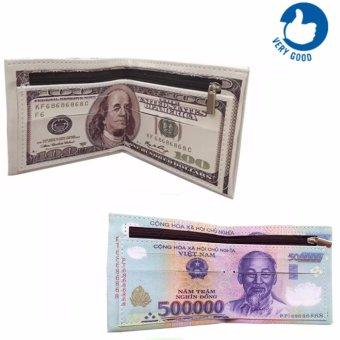 Bộ 2 Ví Da In Hình Tiền 500 Vnd Và 100 Usd