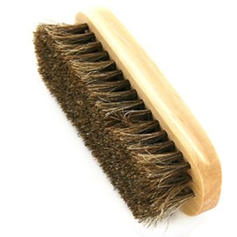 Portable Rectangle Shaped Wooden Handle Horse Hair Shoe Leather Shoes Cleaning Polishing Dusting Brush (Intl) - intl