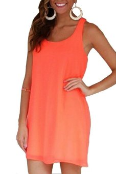 Back Bow Mini Dress (Orange) - Intl