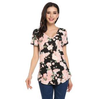 Linemart Women Casual V-Neck Short Sleeve Floral Pocket Asymmetrical Hem Tops ( Multicolor )(Int:XL)(OVERSEAS) - intl