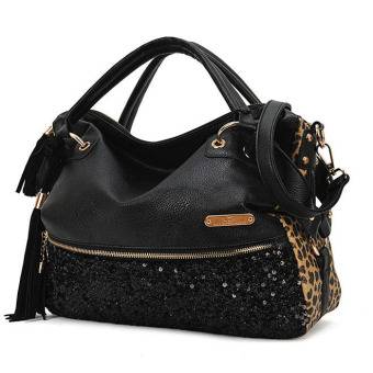 Fashion Women Leopard Sequin Paillette Bag Handbag Tote PU Shoulder Messenger Bag (Intl)