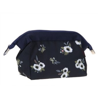 Cosmetic Women Zipper Makeup Case Pouch Clutch Bag (Blue Flower) - intl