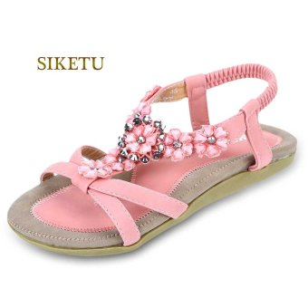 SIKETU Bohemia Beads Open Toe Elastic Band Gladiator Sandals(pink) - intl