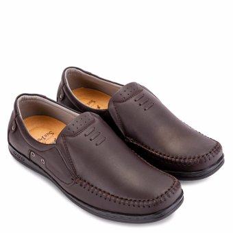 Giày mọi nam da bò SunPoLo LS2098N (Nâu)