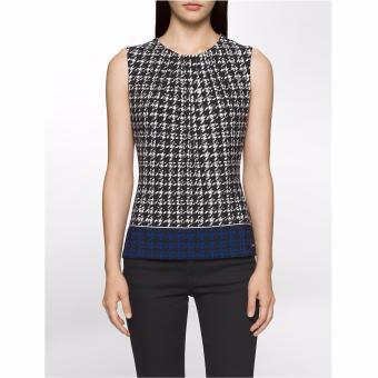 Áo thun nữ Calvin Klein HOUNDSTOOTH PLEAT NECK TOP - Hàng nhập khẩu