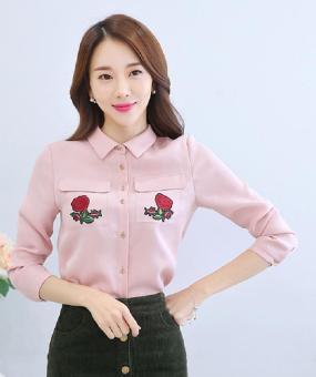 Áo Sơ Mi Túi Thêu Hoa Hồng (M,L,XL) - H982 Bui Nguyen