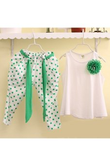 Moonar Kids Girls Tops T shirt trousers Harem pants 2Pcs Summer Outfits Set (White)