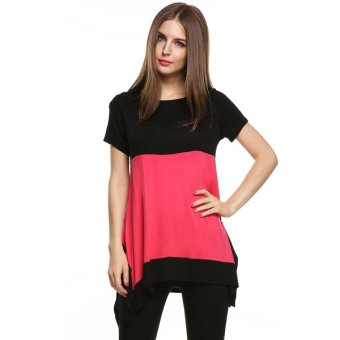 Cyber Meaneor Fashion Ladies Women Casual Short Sleeve Patchwork Asymmetric Hem Loose Blouse - Intl