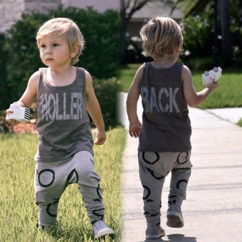 1Set Kids Toddler Boys Handsome Letter T-shirt+Trousers Pants Clothes Outfits - intl