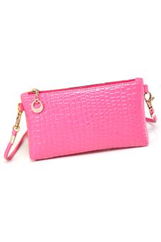 Korean Summer Fashion Mini shoulder crocodile fabric bag Red