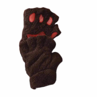 Fluffy Bear Plush Claw Soft Toweling Lady's Half Covered Glove Brown
