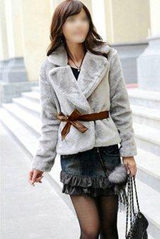 Cyber Women Fashion Faux Fur Rabbit Hair Warm Fluffy Short Coat with Belt (Grey) - Intl