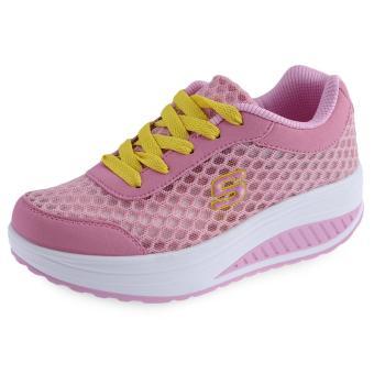 Casual Mesh Color Block Lace Up Ladies Platform Shoes - intl