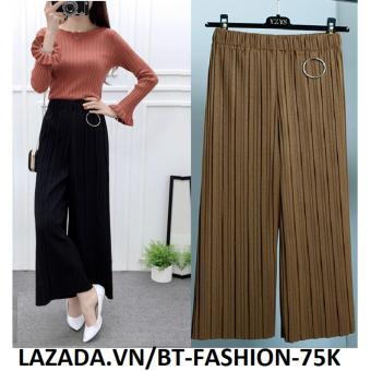Quần Thun Dập Ly Ống Rộng Thời Trang Cao Cấp Hàn Quốc - BT Fashion QD005D (Nâu)