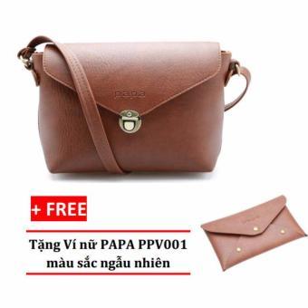 Túi đeo chéo nữ PAPA PPT005 (Bò đậm) + Ví nữ PAPA PPV001