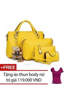 Bộ 4 túi họa tiết cao cấp hàn quốc (Vàng) + Tặng 1 áo thun body nữ