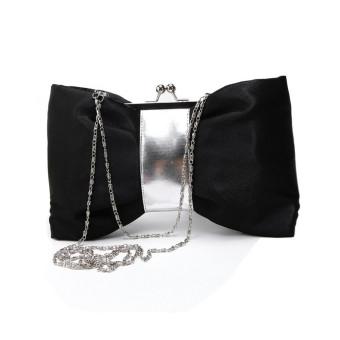 Women Purse Handbag Evening Party Bag Satin Clutch Black - Intl