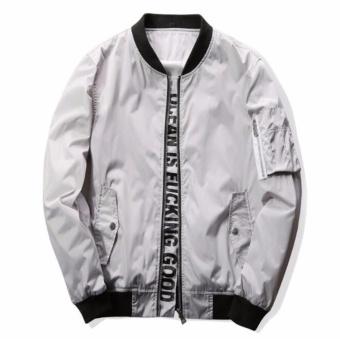 Men Letter Printing Jackets With Pocket Slim Bomber Jackets M-4XL - intl